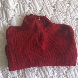 Red Mock Neck Cropped Sweater